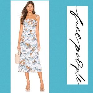 FREE PEOPLE Dress Midi Ivory Flamingo Paradise
